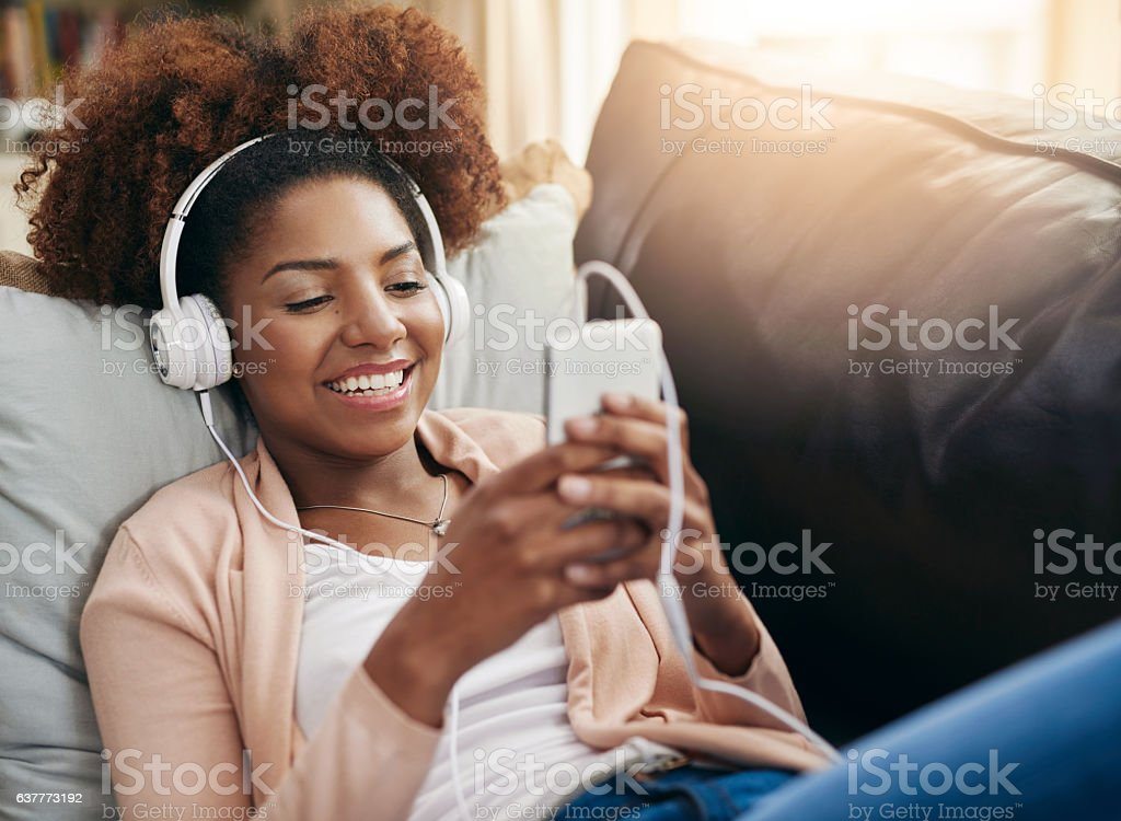 Downloading an awesome playlist stock photo