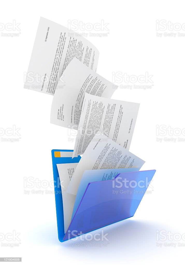 Downloading concept blue folder having paper flying in royalty-free stock photo