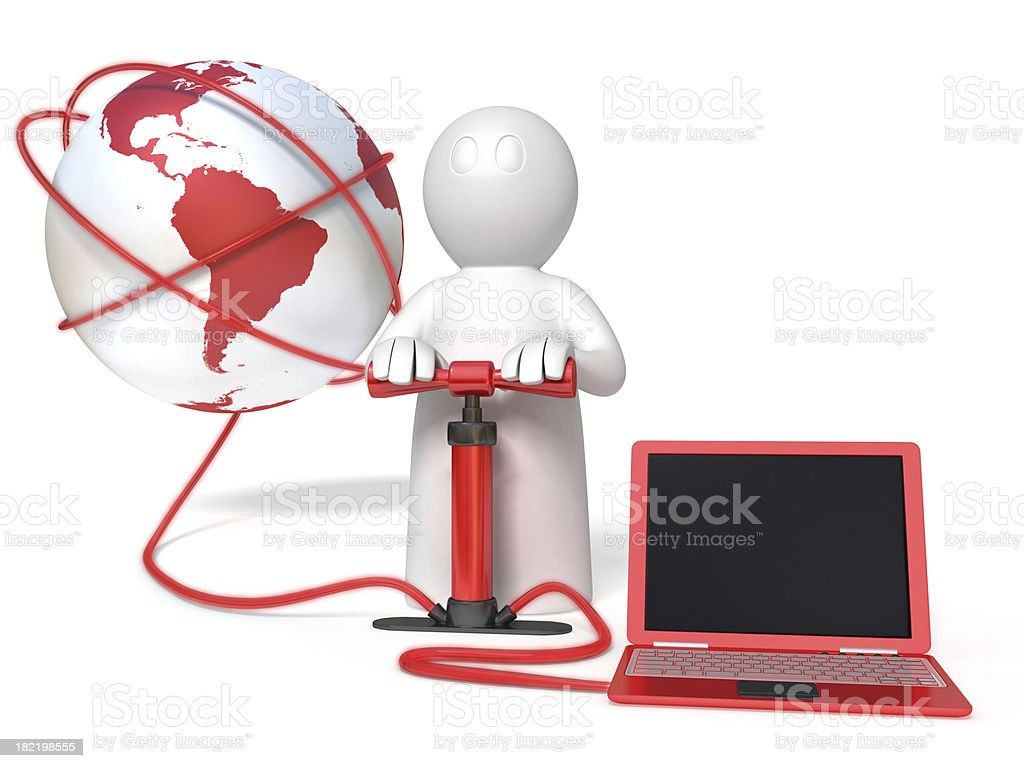 downloading from internet to laptop royalty-free stock photo
