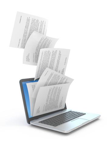 Downloading dcuments in laptop. 3d illustration.