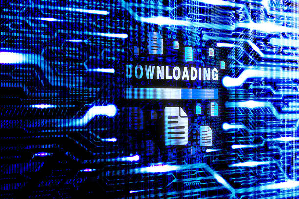 Downloading technology stock photo
