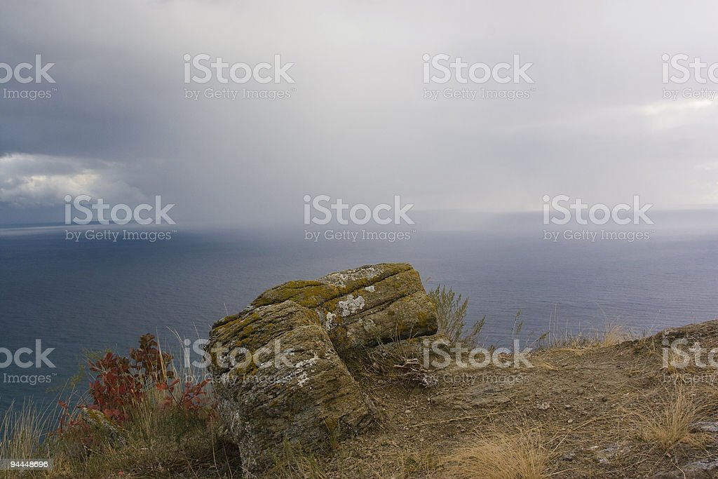 downpour over ocean royalty-free stock photo