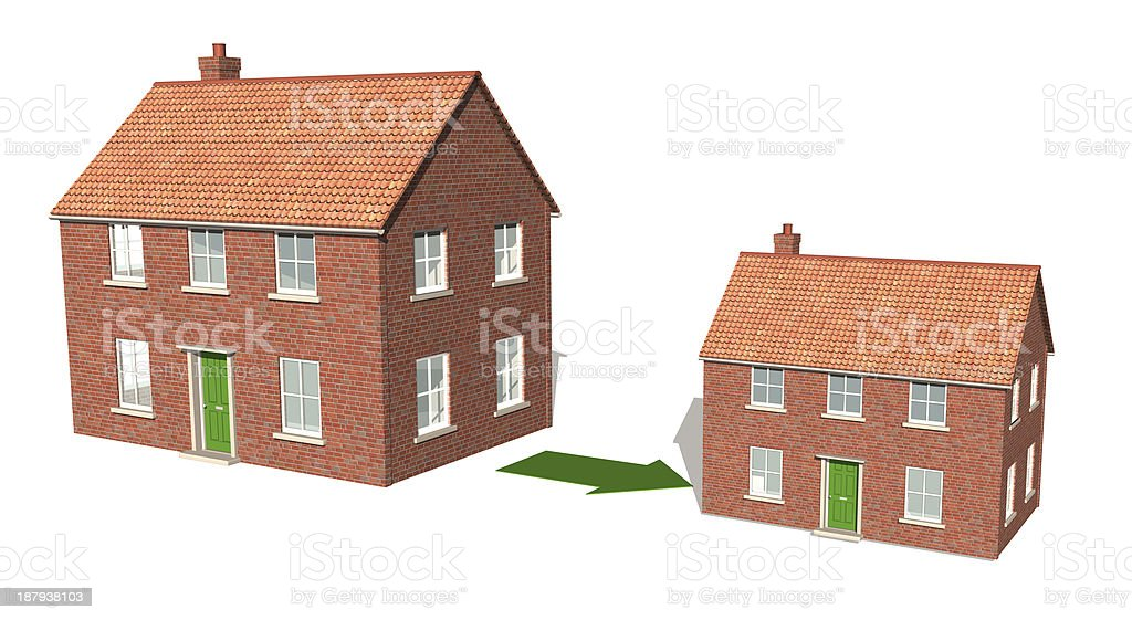 Downsizing, moving down, realizing assets 2 stock photo