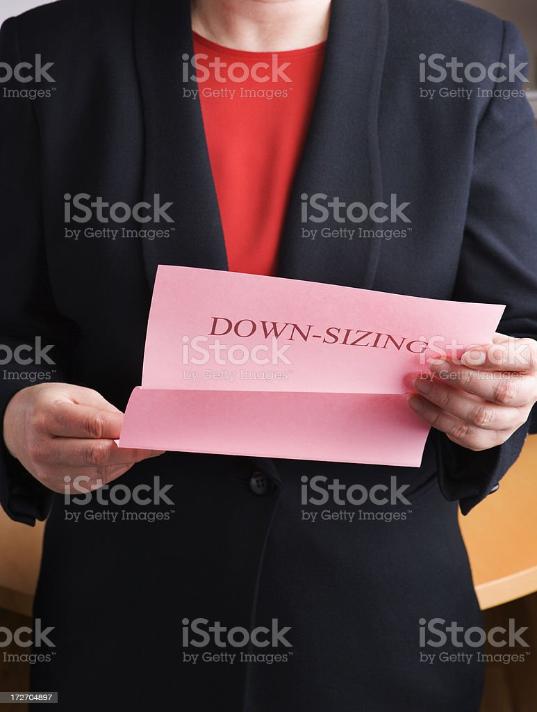 Downsizing Notice stock photo