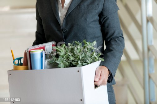 Mid Section View of a Businesswoman Holding a Cardboard Box Containing a Large Group of Objects