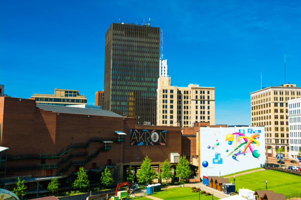Downtown Akron Skyline with Akron Sign and Art stock photo