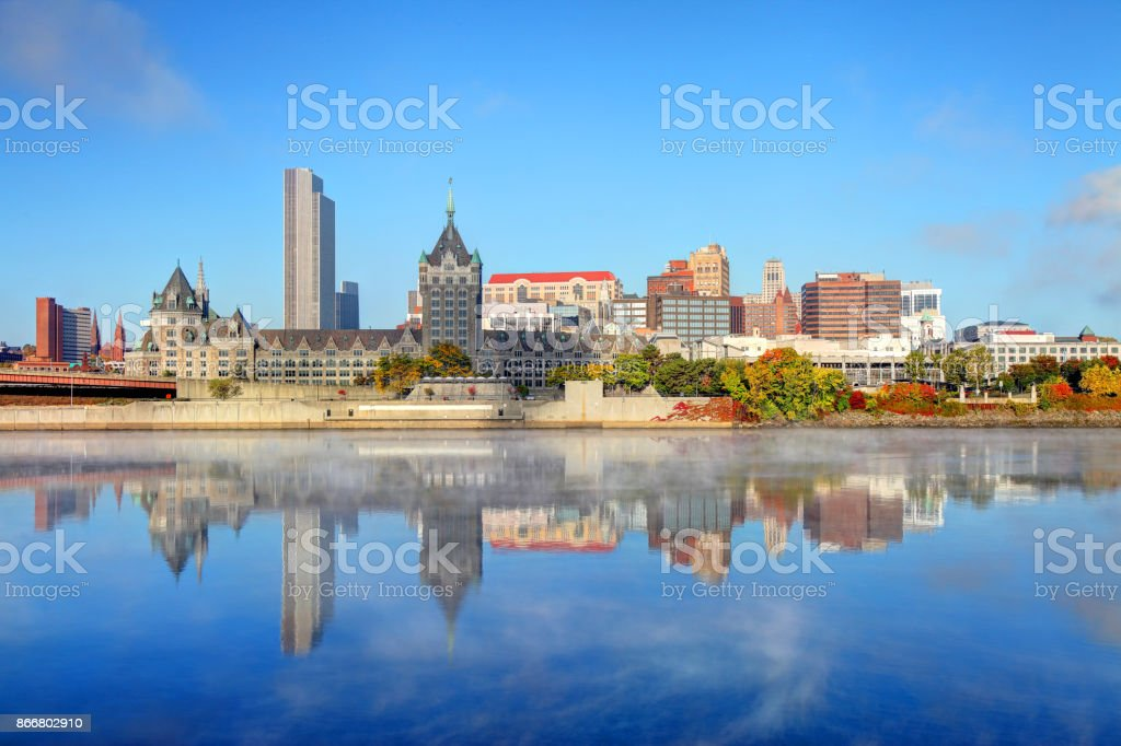 Downtown Albany skyline along the Hudson River stock photo