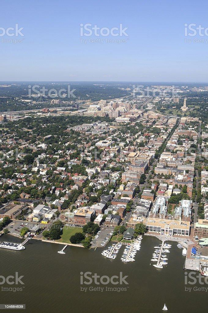 Downtown Alexandria aerial stock photo