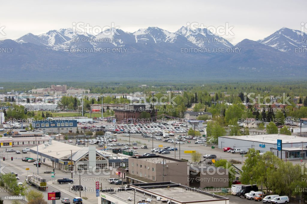 Downtown Anchorage Alaska USA in Springtime, view of city stock photo