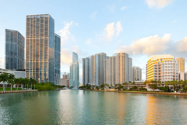 Downtown and Brickell Key in Miami stock photo