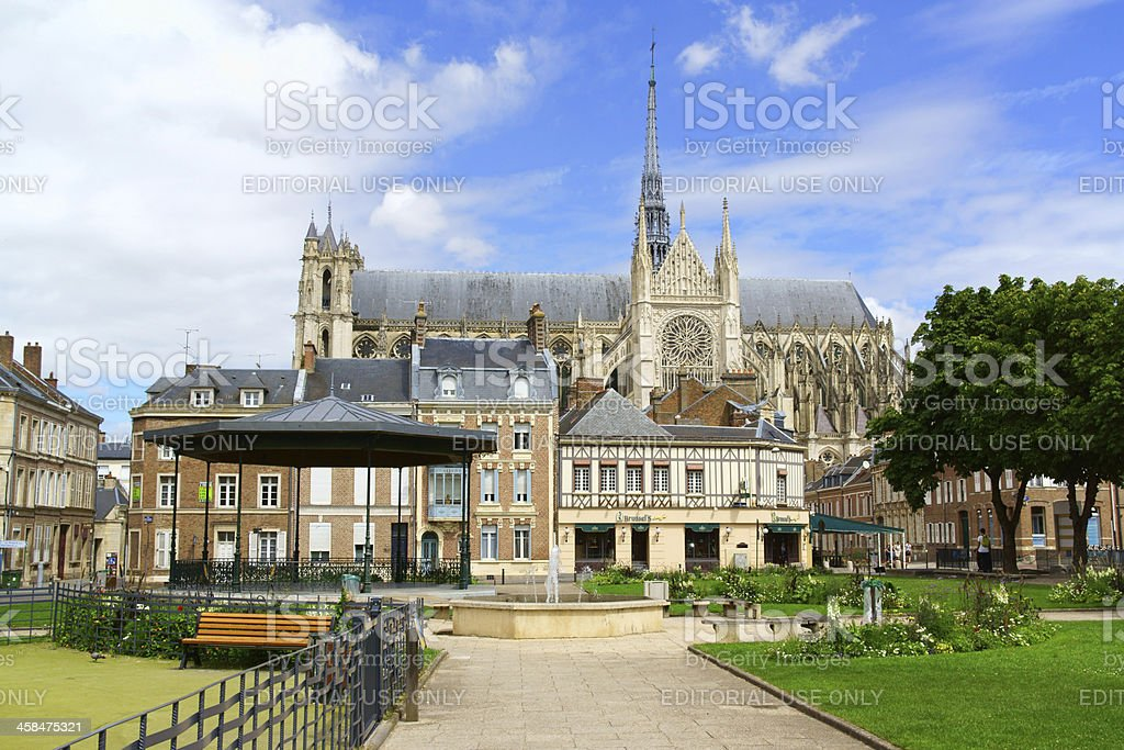 Downtown and Our Lady of Amiens Cathedral in France stock photo