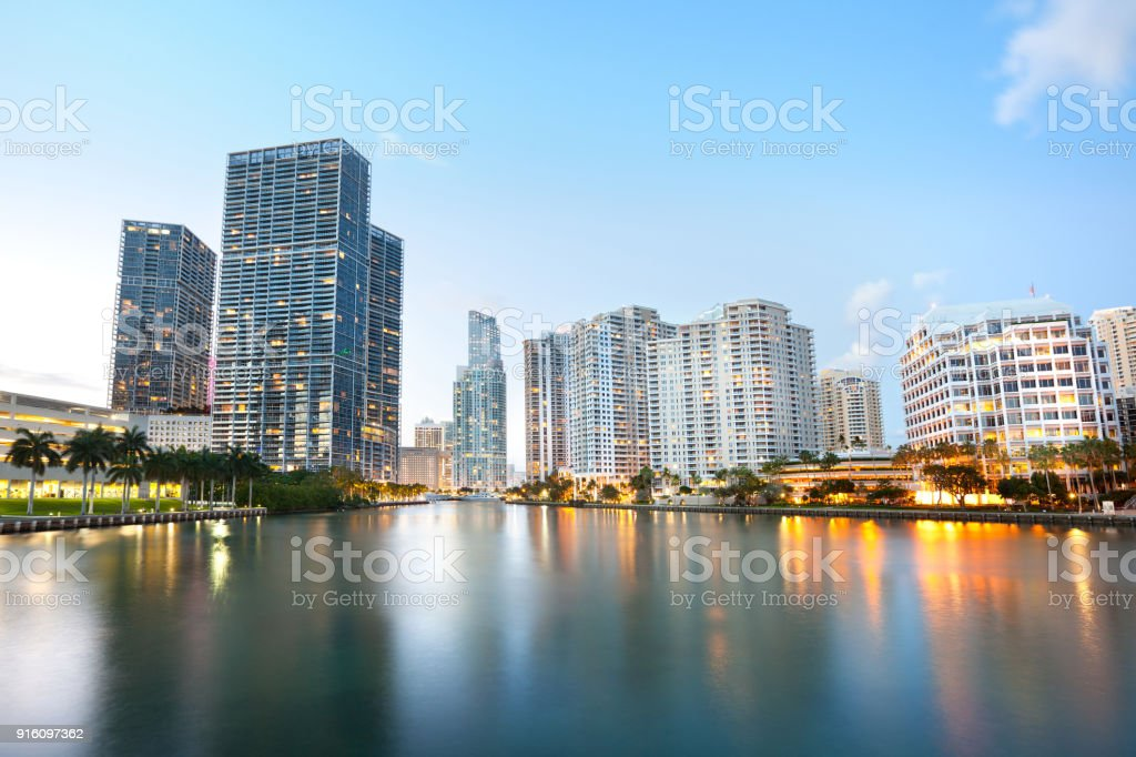 Downtown and real estates developments at Brickell Key stock photo