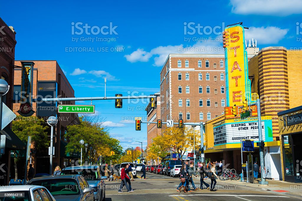 Downtown Ann Arbor with the State Theater and pedestrians - Royalty-free Ann Arbor Stock Photo
