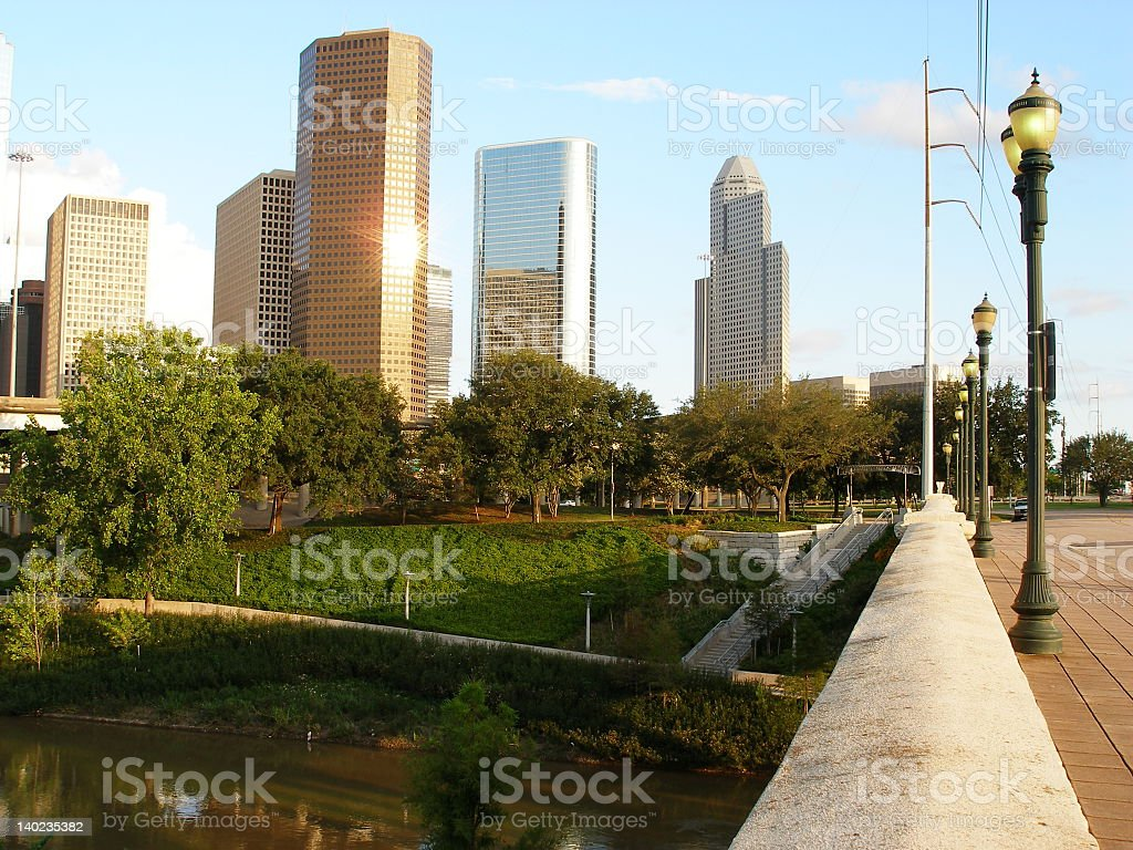 Downtown area and park in Houston stock photo