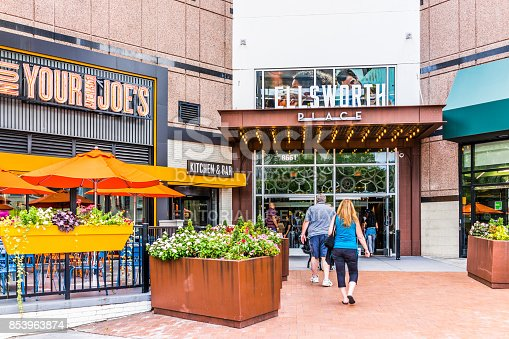 Silver Spring: Downtown area of city in Maryland with people entering Ellsworth place shopping mall, stores, shops, restaurants for shopping