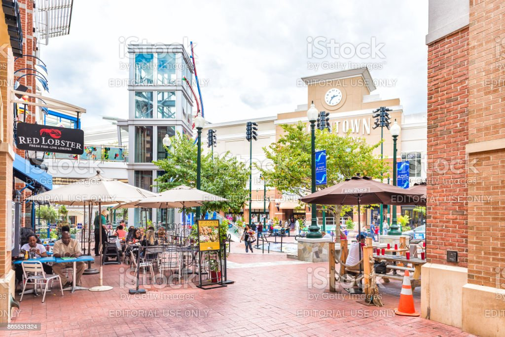 Downtown area of city in Maryland with shopping mall, restaurants and shops stock photo