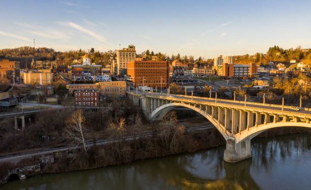Downtown area of Fairmont in West Virginia taken over the river stock photo