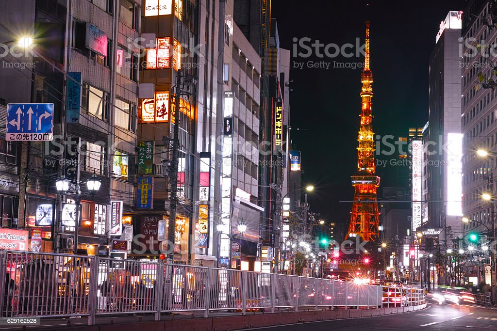 Downtown area of Roppongi at night stock photo
