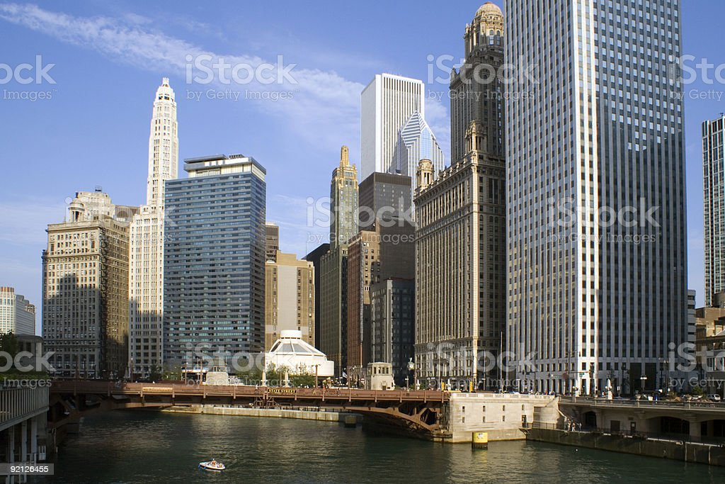 Downtown around Chicago River stock photo