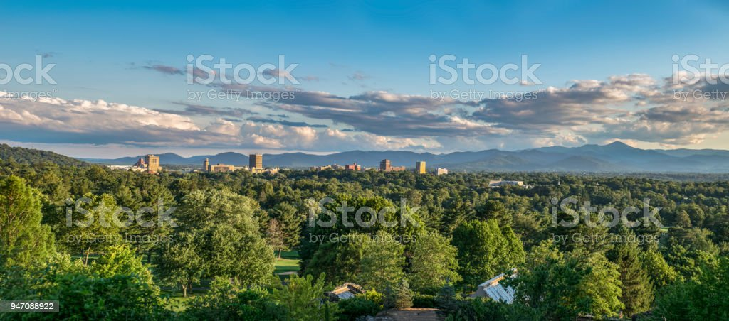 Downtown Asheville North Carolina Blue Ridge Mountains Panorama stock photo