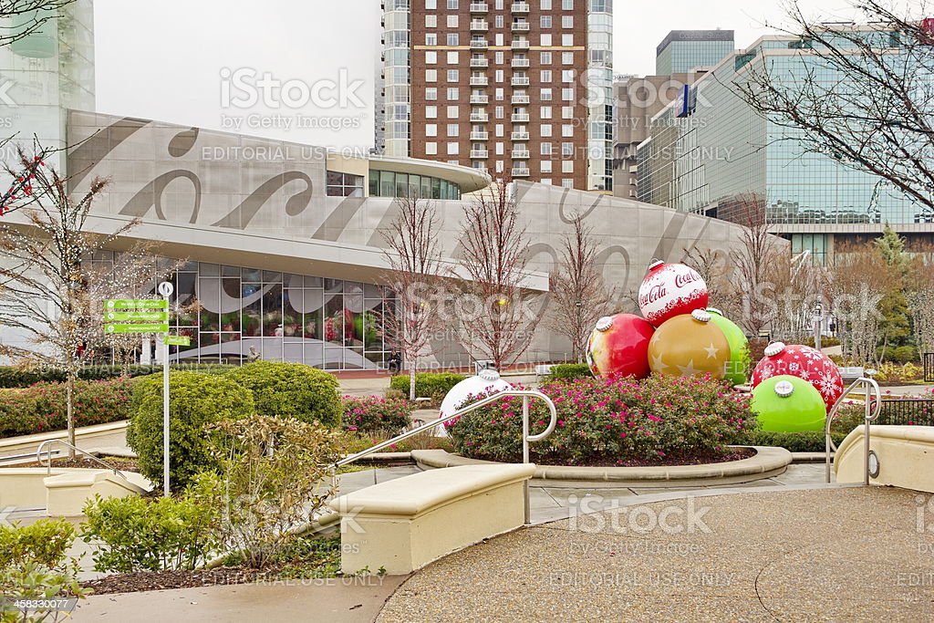 Downtown Atlanta, GA, Tourist Attraction Park, on Foggy Winter Morning stock photo
