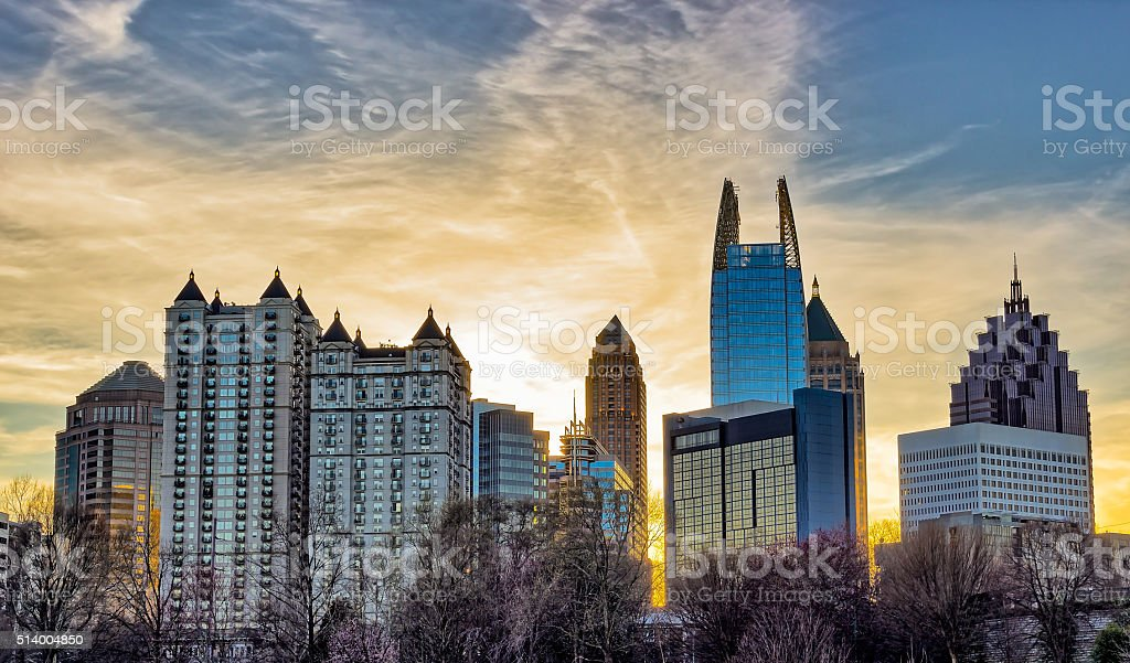 Downtown Atlanta sunset with buildings in the foreground stock photo