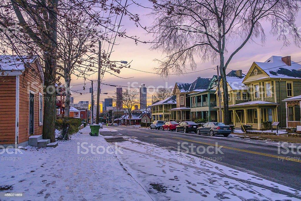 Downtown Atlanta Urban Scene with Snow stock photo