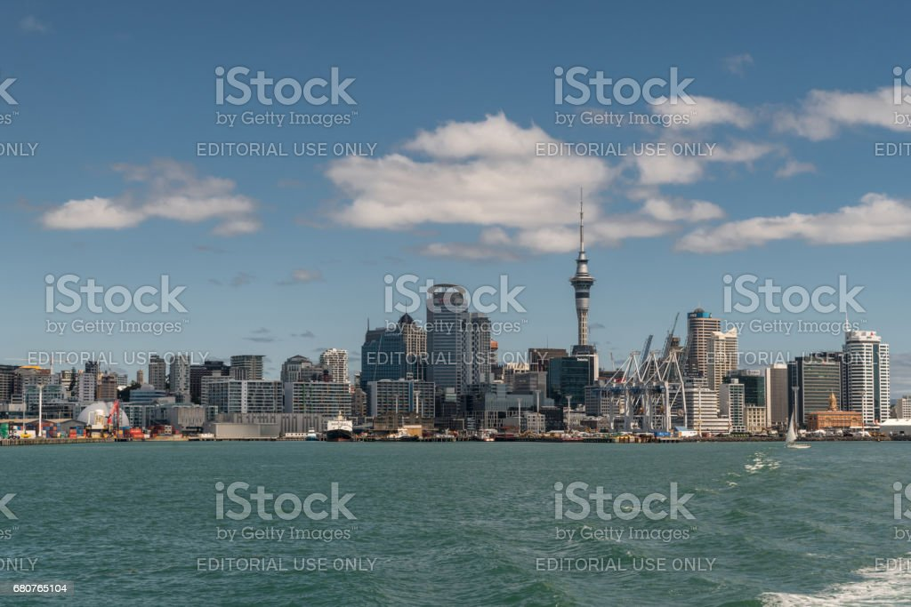 Downtown Auckland skyline seen from harbor. stock photo