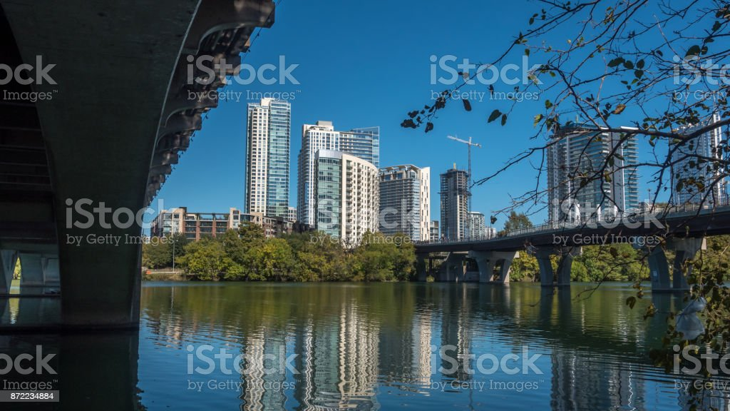 Downtown Austin From Under the First Street Bridge stock photo