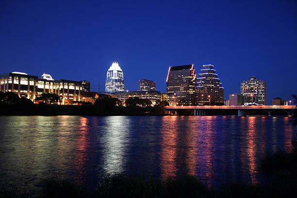 Downtown Austin, Texas at Night stock photo