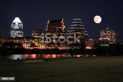 A very pretty night in Austin, Texas.  This shot was taken from across Town Lake downtown.  A very useful image for Austin related content.  The moon was adding in for effect.