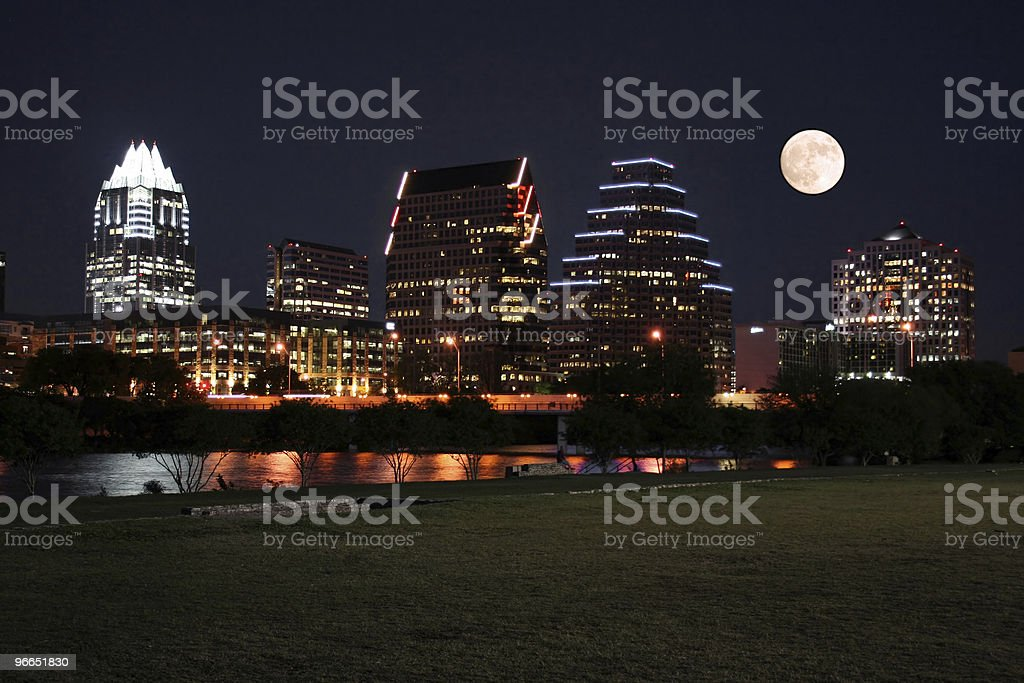 Downtown Austin, Texas at Night with Moon stock photo