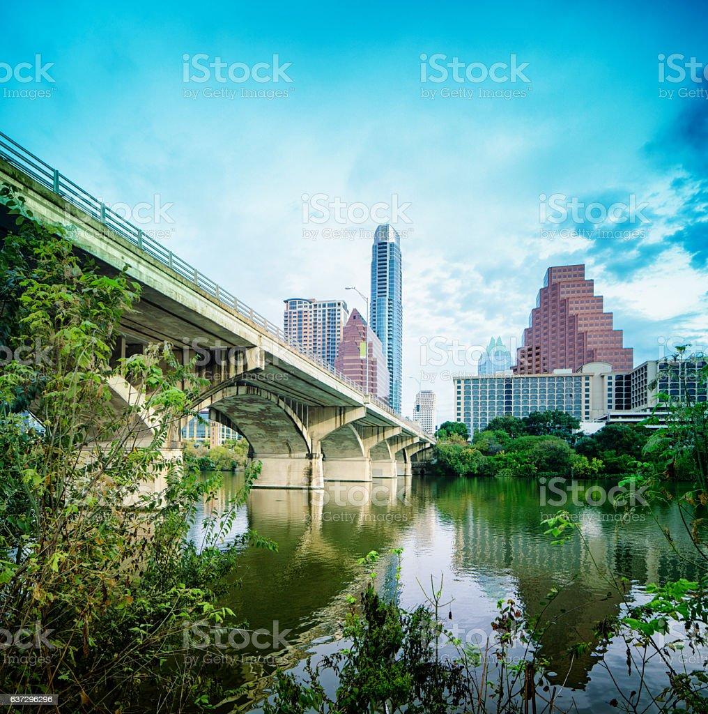Downtown Austin Texas with Colorado river and Congress bat bridge stock photo
