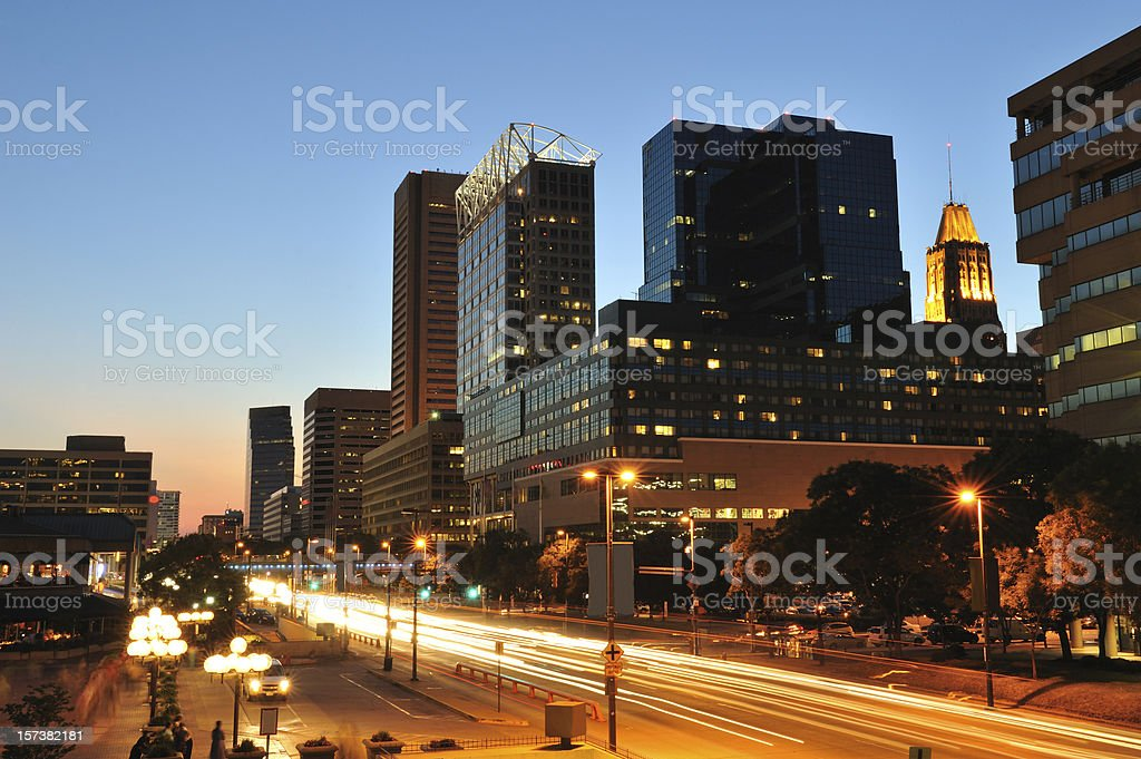 Downtown Baltimore at Dusk royalty-free stock photo