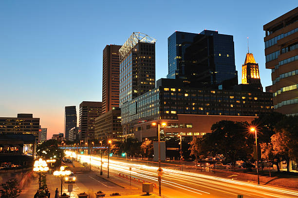 Downtown Baltimore at Dusk stock photo