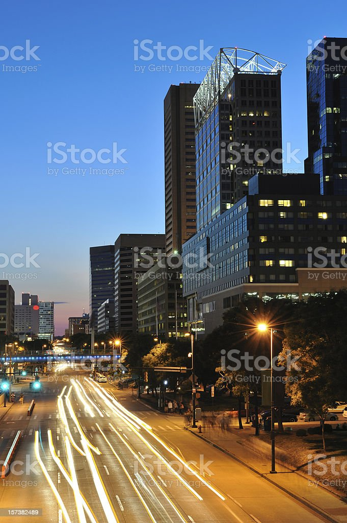 Downtown Baltimore at Night stock photo