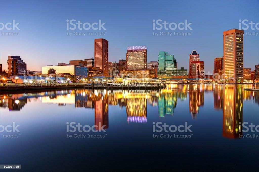 Downtown Baltimore Maryland Skyline stock photo
