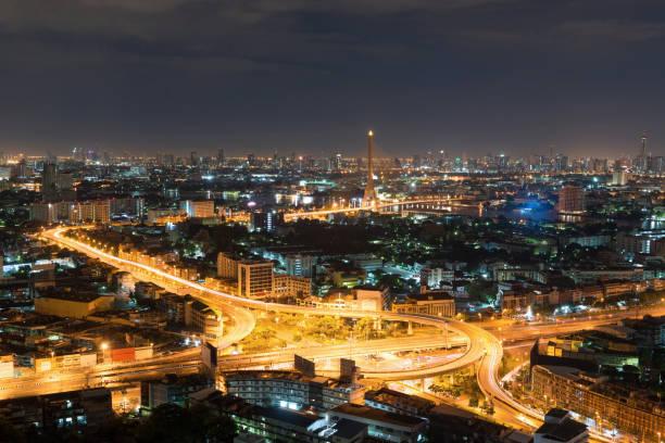 到了晚上,湄南河,泰國曼谷市中心圖像檔