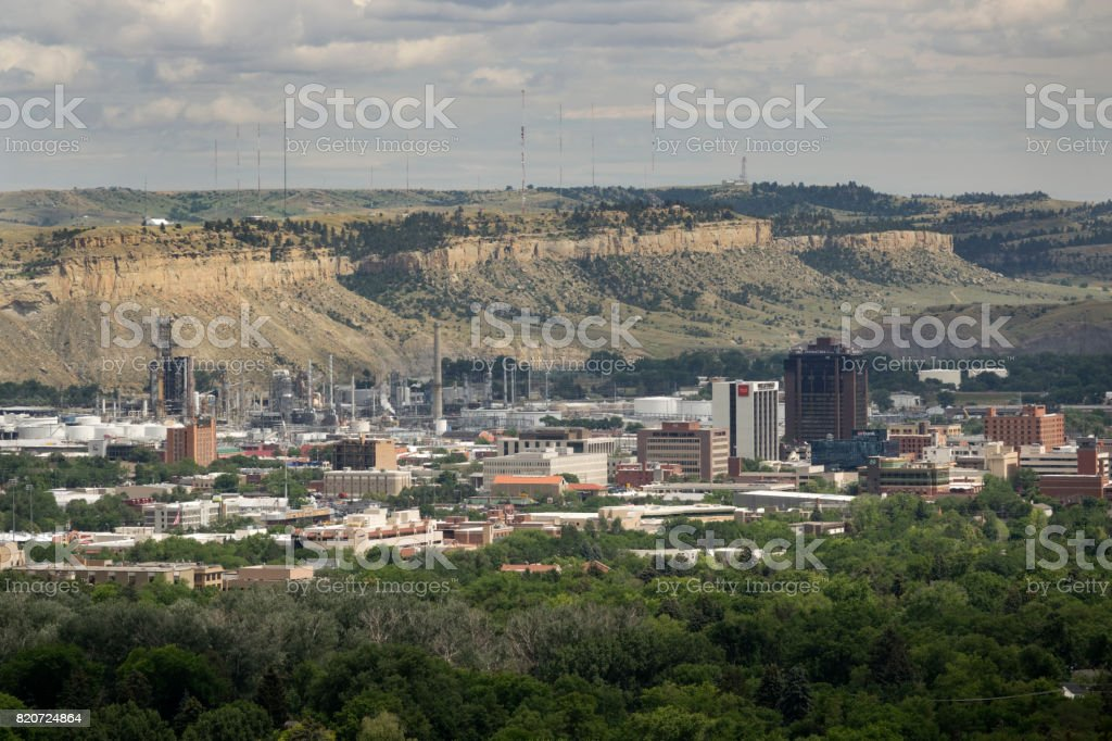 Downtown Billings Montana city office buildings oil petroleum refinery stock photo