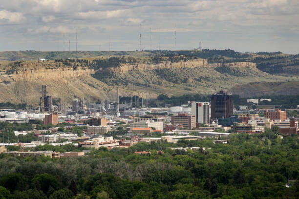 Downtown Billings Montana city office buildings oil petroleum refinery stock photo
