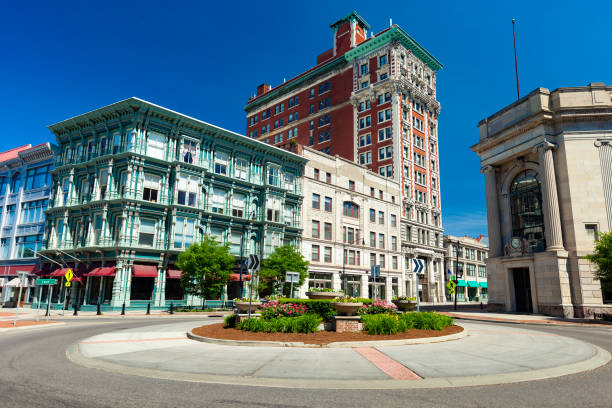 Downtown Binghamton, New York. stock photo