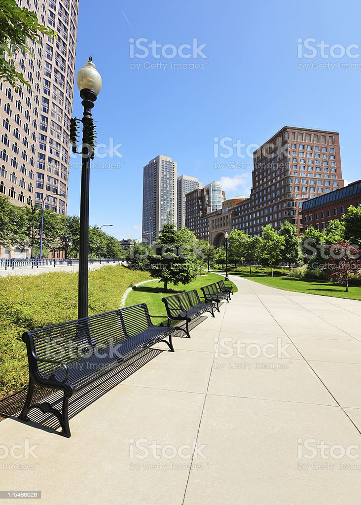 Downtown Boston City Benches in Park stock photo