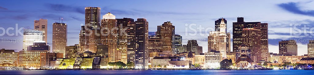 Downtown Boston City Skyline at Night USA royalty-free stock photo
