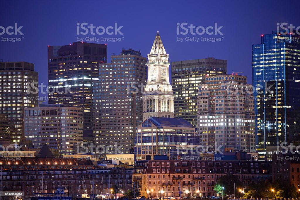 Downtown Boston skyline and the Custom House Tower royalty-free stock photo