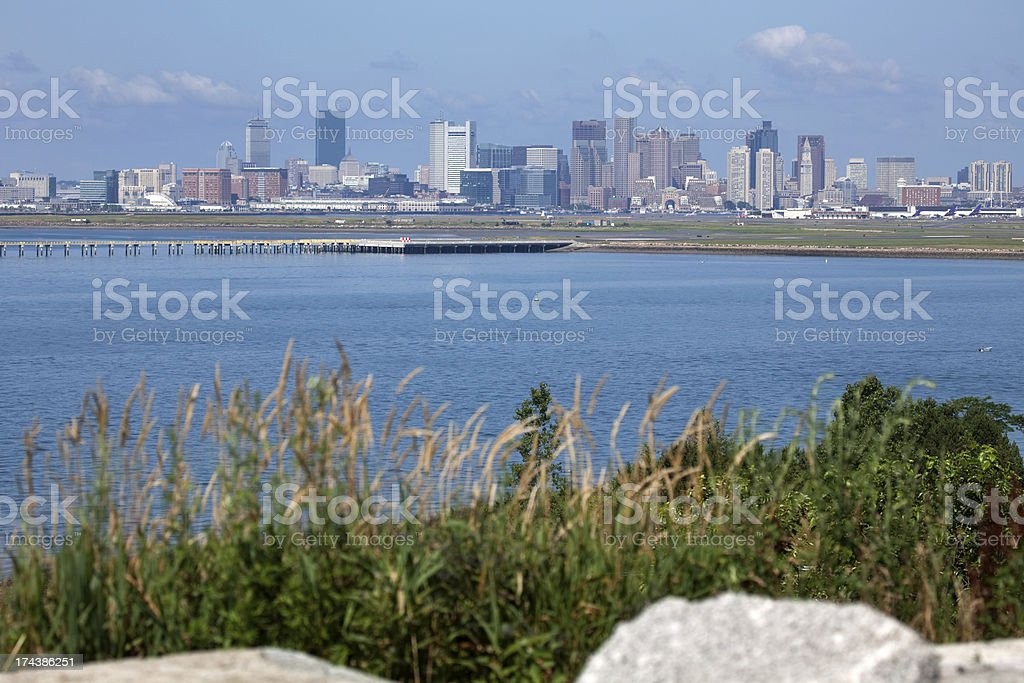 Downtown Boston skyscrapers from Deer Island stock photo