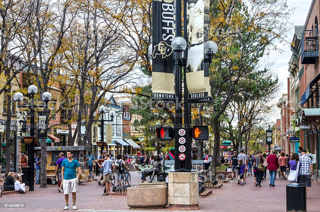 Downtown Boulder, Colorado and the Pearl Street Mall stock photo