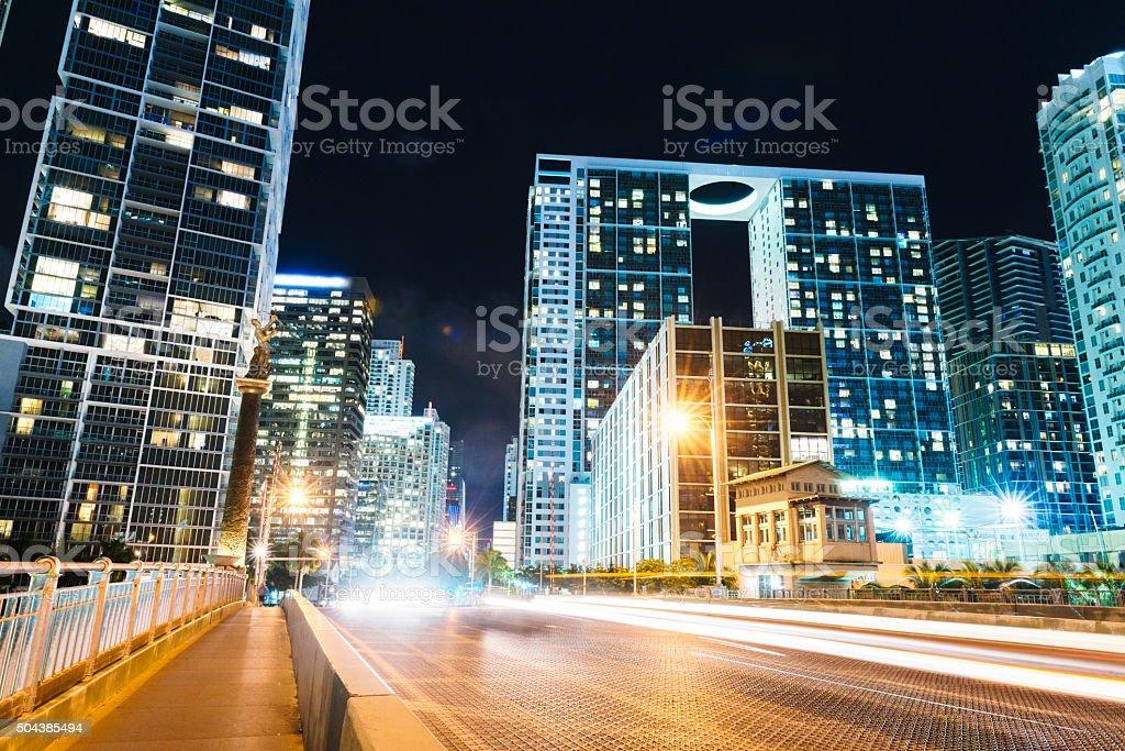 Downtown Brickell Avenue Miami Night Urban City Street Scene stock photo