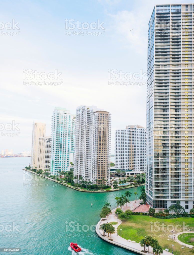 Downtown Brickell Key on Miami River Florida Tropical Travel Destinations stock photo
