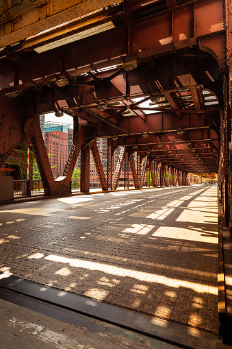 Bridge over the Chicago River in downtown Chicago, Illinois.