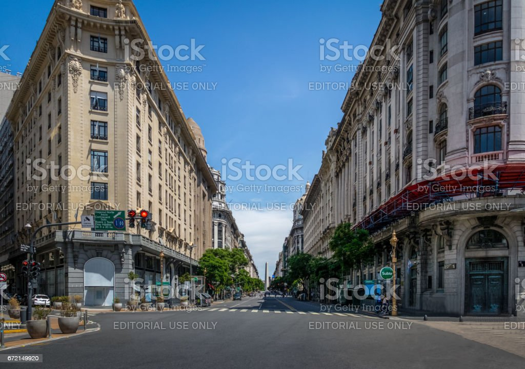 Downtown Buenos Aires Diagonal Norte Street with the Obelisk as background - Buenos Aires, Argentina stock photo